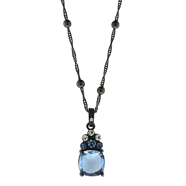 Black-Tone Crystal Blue Drop Necklace 16 In Adj