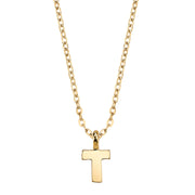 Gold Tone Mini Initial Necklaces T