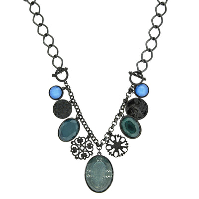 Black Tone Blue Multi Drop Cameo Necklace 16   19 Inch Adjustable