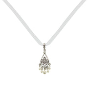 Silver Tone Crystal Costume Pearl Chandelier Drop Necklace 15 In Adj