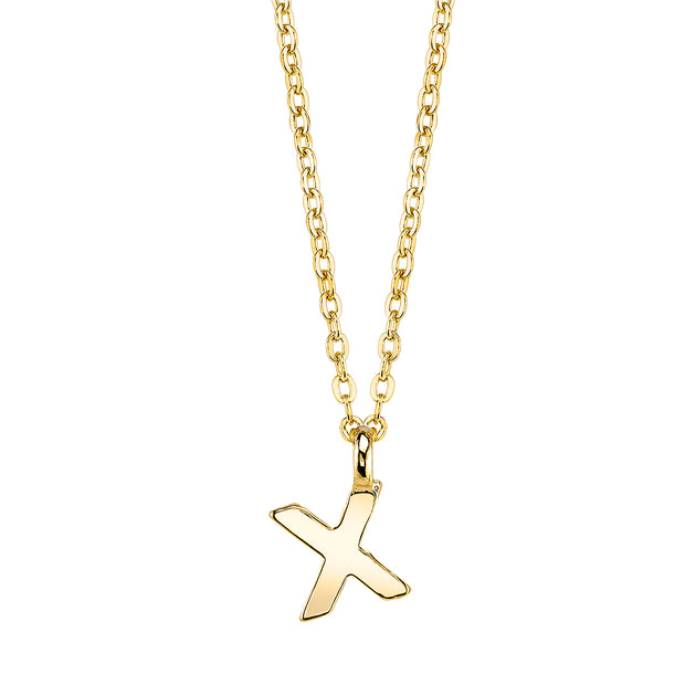 Gold Tone Mini Initial Necklaces X