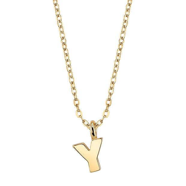 Gold Tone Mini Initial Necklaces Y