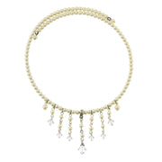 Silver-Tone Crystal  Costume Pearl Beaded Coil Necklace 15.5 In