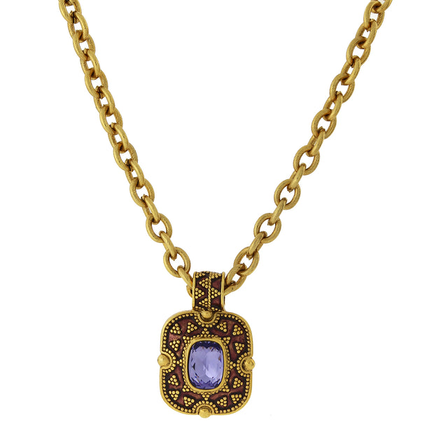 Gold-Tone Amethyst Purple Color Enamel Pendant Necklace 18 In