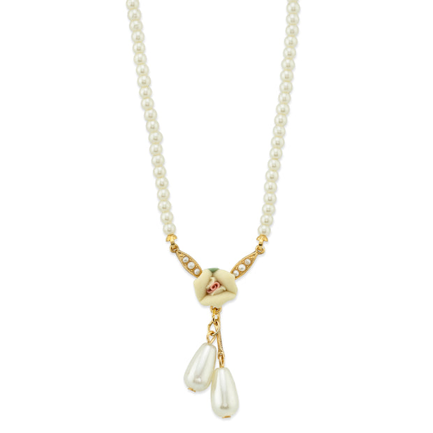 Gold-Tone Porcelain Rose and Simulated Pearl Drop Necklace