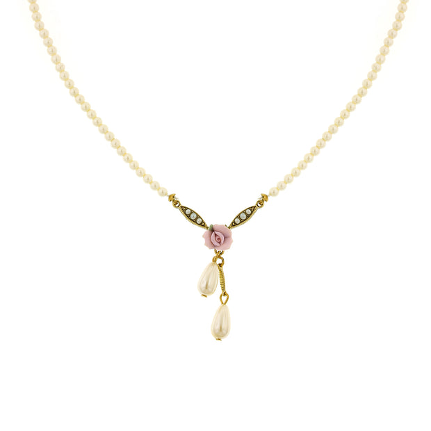 Gold Tone Porcelain Rose And Simulated Pearl Drop Necklace