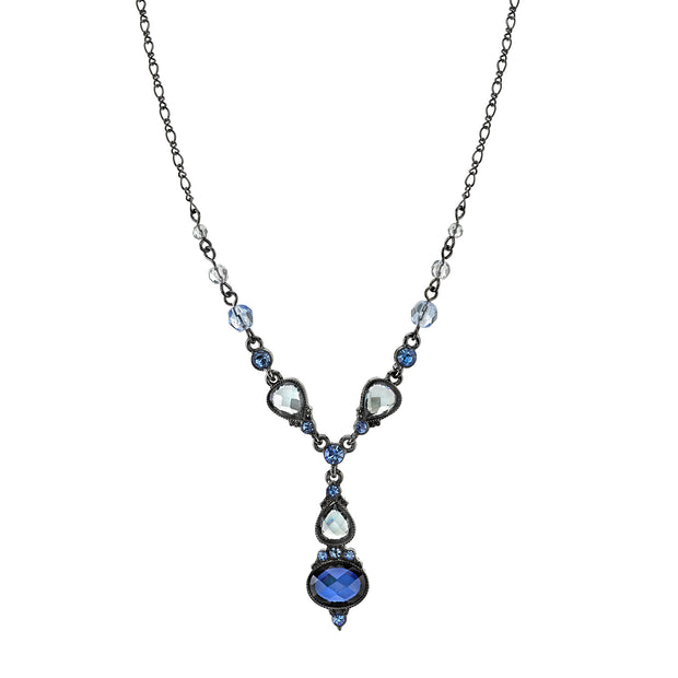 Black-Tone Blue Faceted and Light Sapphire Blue Crystal Drop Necklace 15  Adj.