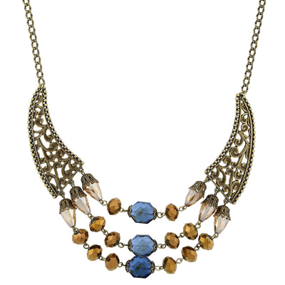 Burnished Brass Bronze Blue Lt. Topaz Bib Necklace 16   19 Inch Adjustable