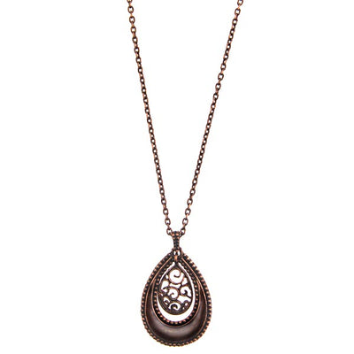 Copper Tone Brown Enamel Teardrop Necklace 16   19 Inch Adjustable