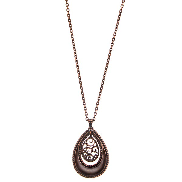 Copper-Tone Brown Enamel Teardrop Necklace 16 In Adj