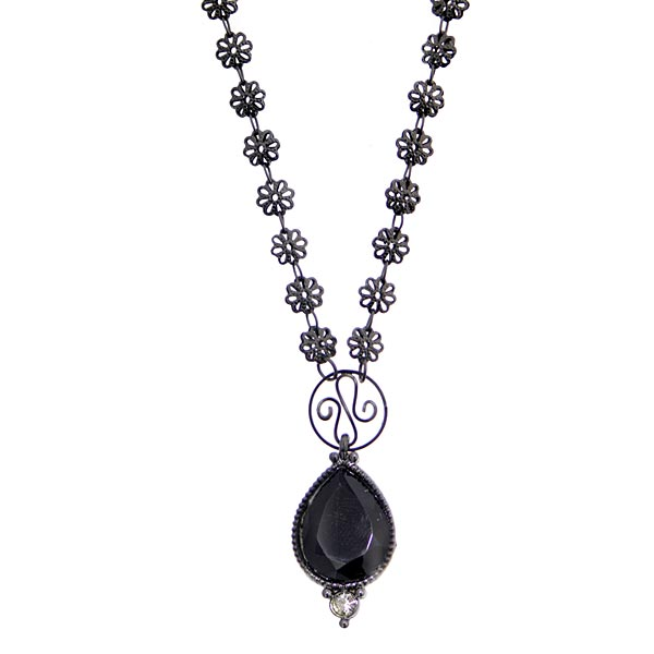 Black-Tone Black Stone and Black Diamond Color Crystal Pendant Necklace 16 In  Adj