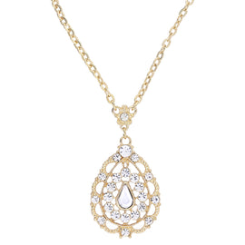 Fashion Jewelry - 2028 Gold-Tone Crystal Filigree Pear-Shaped Pendant Necklace