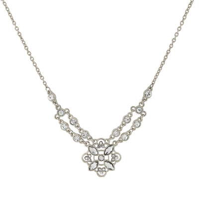 Silver-Tone Crystal Necklace 16 - 19in. Adjustable