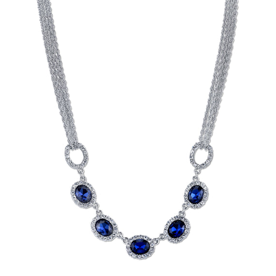 Silver Tone Sapphire Blue with Crystal Accents Collar Necklace 16