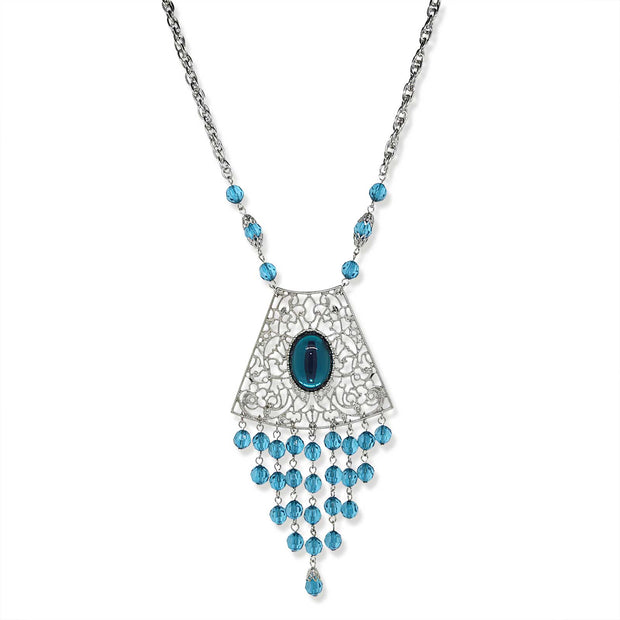 Silver-Tone Blue Filigree and Drop Shield Necklace 16 In Adj