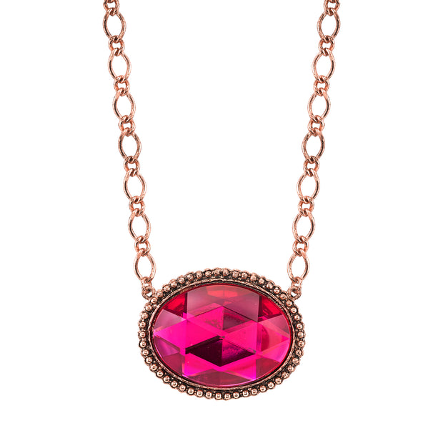 Copper-Tone Fuchsia Faceted Oval Pendant Necklace 16 In Adj