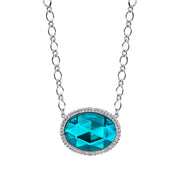 Faceted Oval Pendant Necklace 16 - 19 Inch Adjustable Light Blue