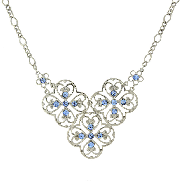 Silver Tone Blue Filigree Bib Necklace 16   19 Inch Adjustable