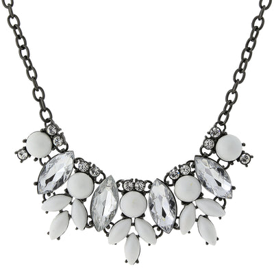 Black-Tone White And Crystal Bib Necklace 16 - 19 Inch Adjustable