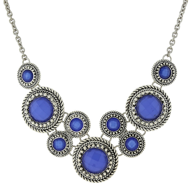 Silver-Tone Blue Round Faceted Bib Necklace 16 In Adjustable