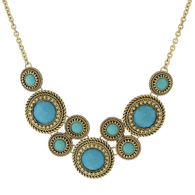 Gold-Tone Turquoise Round Faceted Bib Necklace 16 In Adj