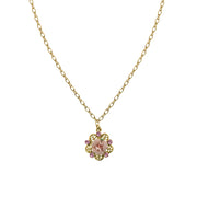 Gold-Tone Pink Crystal And Porcelain Rose Filigree Necklace 16 - 19 Inch Adjustable
