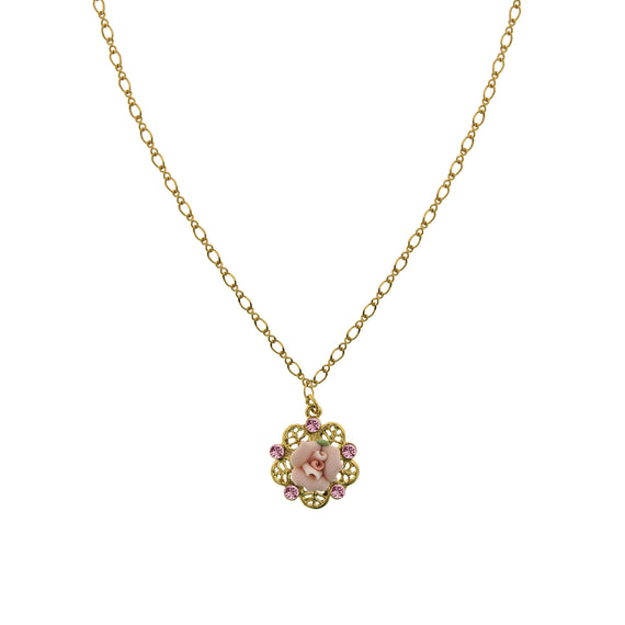 Gold-Tone Pink Crystal and Porcelain Rose Filigree Necklace 16 In  Adj