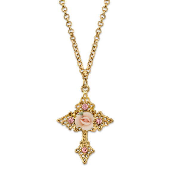 Gold Tone Crystal and Porcelain Rose Cross Filigree Necklace 18 In Adj