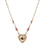 Rose Gold-Tone  Costume Pearl Purple Flower Heart Necklace 15 In Adj