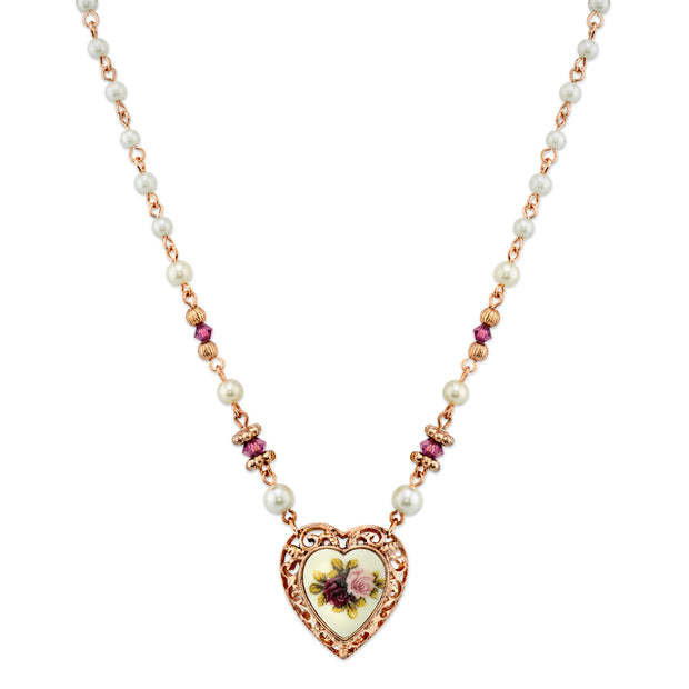 Rose Gold Tone  Costume Pearl Purple Flower Heart Necklace 15 In Adj