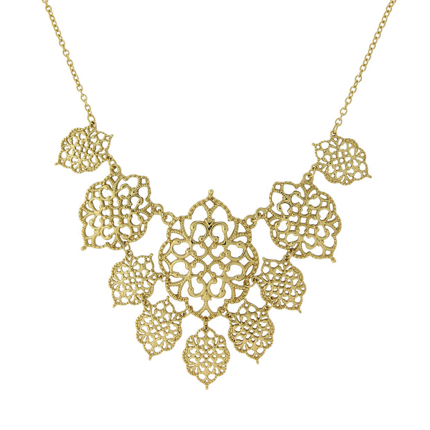 Filigree Bib Necklace 16 - 19in Adjustable Gold