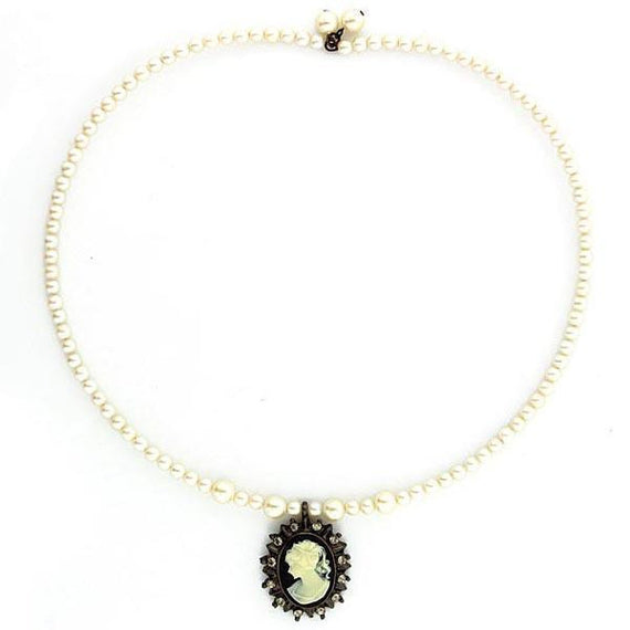 Black-Tone Black Diamond Color Crystal Simulated Pearl Cameo Necklace 15.5 Adj