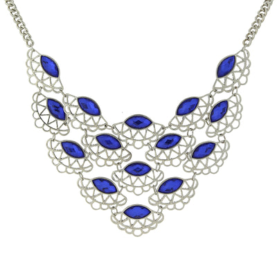 Silver-Tone Blue Scalloped Bib Necklace 16 In Adj