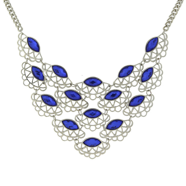 Silver-Tone Blue Scalloped Bib Necklace 16 - 19 Inch Adjustable