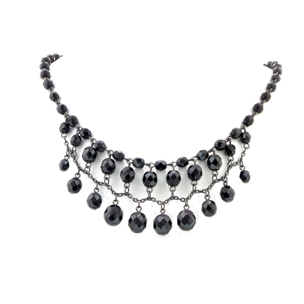 2028 Black Tone Jet Black Beaded Draped Necklace 16 - 19 Inch Adjustable