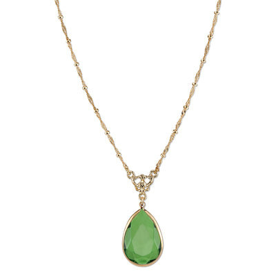 Gold Tone Green Pearshape Pendant Necklace 16   19 Inch Adjustable