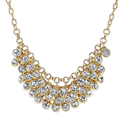 Gold Tone Crystal Cluster Bib Necklace 16   19 Inch Adjustable