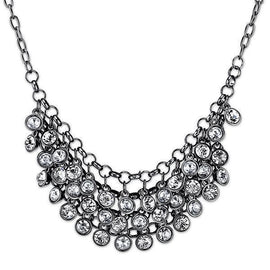 Black-Tone Crystal Cluster Bib Necklace 16 Adj.
