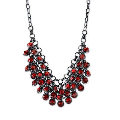 Black-Tone Red Cluster Bib Necklace 16 In Adj