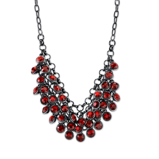 Black Tone Red Cluster Bib Necklace 16   19 Inch Adjustable