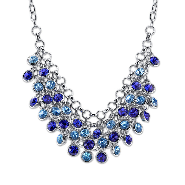 Silver-Tone Blue Cluster Bib Necklace 16 In Adj
