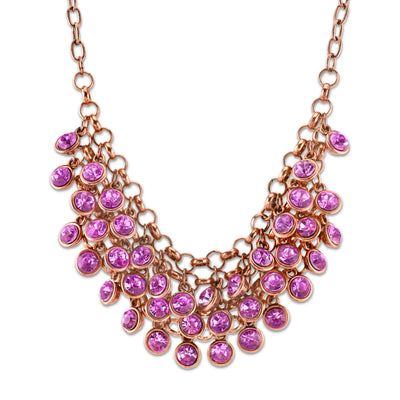 Copper-Tone Lt. Amethyst Purple Color Cluster Bib Necklace 16 In Adj