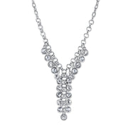 Silver Tone Cluster Y Necklace 16   19 Inch Adjustable Crystal Clear