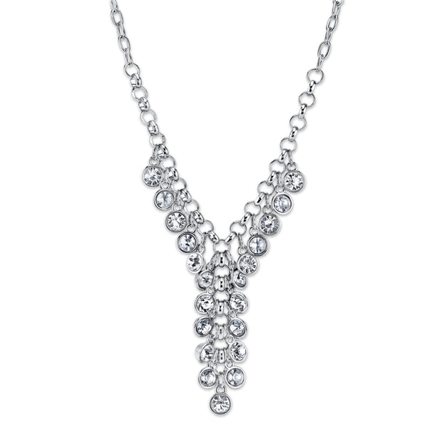 Silver-Tone Cluster Y-Necklace 16 - 19 Inch Adjustable Crystal Clear