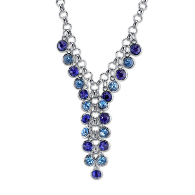 Silver Tone Cluster Y Necklace 16   19 Inch Adjustable