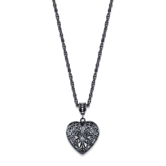 Black tone genuine swarovski crystal elements accent filigree heart pe fashion jewelry black tone genuine swarovski crystal accent filigree heart pendant necklace aloadofball Gallery