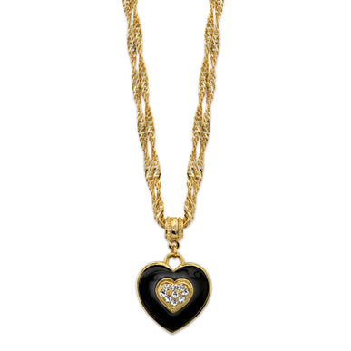 Fashion Jewelry - Gold-Tone Black Enamel Heart with Swarovski Crystal Accent Necklace