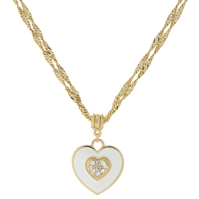 Gold Tone Enamel Heart With Swarovski Crystal Necklace 16   19 Inch Adjustable