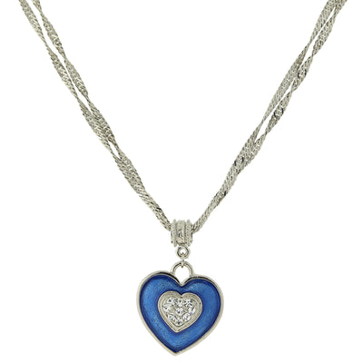 1928 Jewelry Silver-Tone Blue Enamel Heart with Swarovski Crystal Accent Necklace 16 In