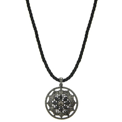 Black-Tone Black Round Pendant Twist Cord Necklace 18 In
